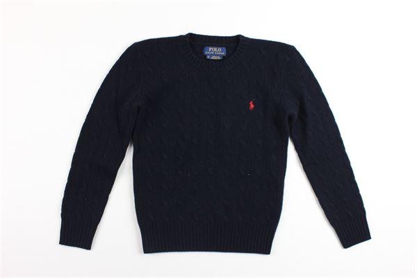 maglia girocollo con trecce e logo RALPH LAUREN | Maglie | 323702589003BLU