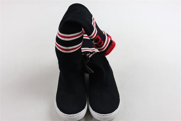socksboots lungo tinta unita con stampa 2STAR | Scarpe | SCARPE2STAR2NERO