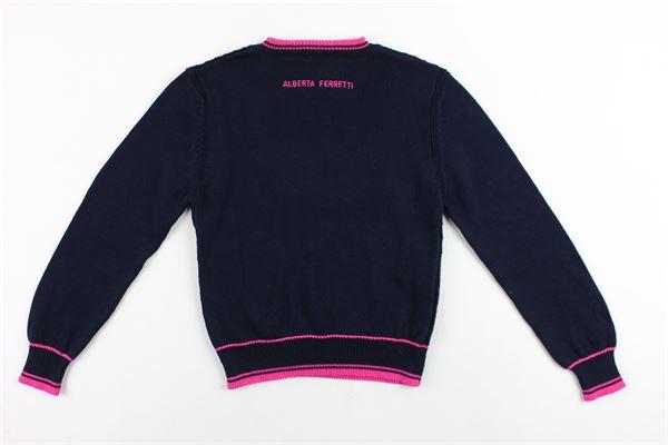 maglia girocollo in filo tinta unita con stampa in contrasto ALBERTA FERRETTI | Maglie | 019293BLU
