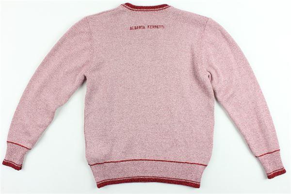 maglione girocollo manica lunga laminata con stampa ALBERTA FERRETTI | Maglie | 020318ROSA
