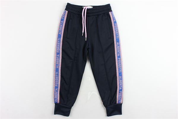 pantalone tuta triacetato tinta unita con profili laminati ALBERTA FERRETTI   Pantaloni   020323BLU