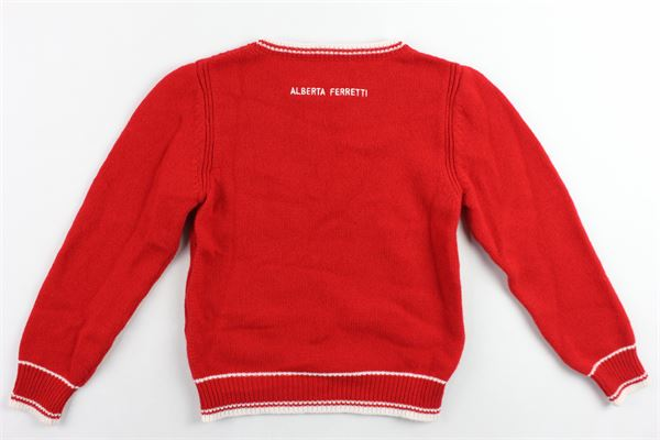maglione girocollo tricot con stampa ALBERTA FERRETTI | Maglie | 020423ROSSO