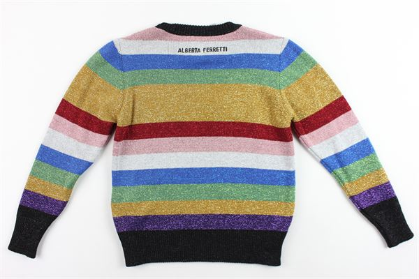 maglione laminato girocollo manica lunga,multicolor con stampa ALBERTA FERRETTI   Maglie   020730MULTICOLOR