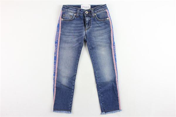 jeans 5 tasche tinta unita con profili loggati glitterati ALBERTA FERRETTI | Jeans | 021746BLU