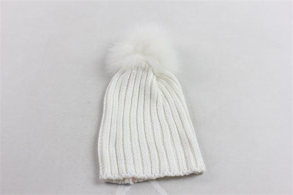 cappello in lana tinta unita con pon pon AMBARABA' | Cappelli | AC26023BIANCO