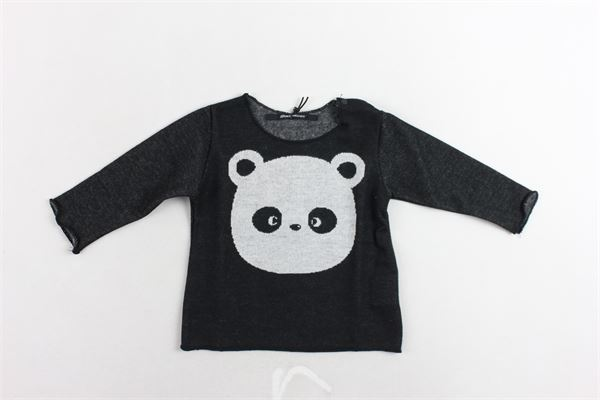 shirt manica lunga tinta unita con stampa panda AVENTIQUATTRORE | Shirts | A240232NERO