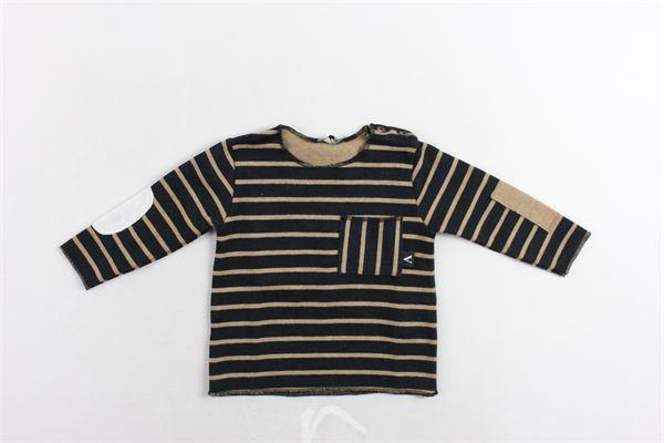 shirt manica lunga rigata con taschino e toppe AVENTIQUATTRORE | Shirts | A240247NERO