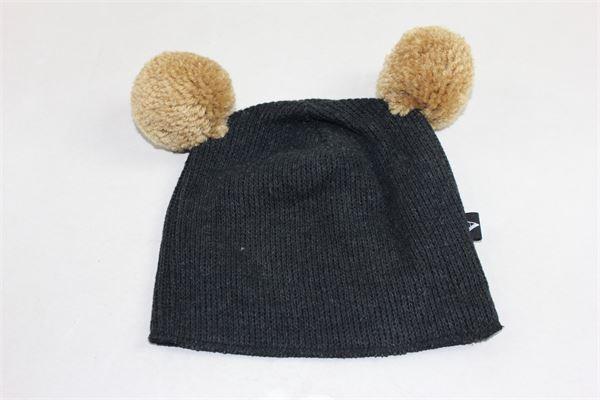 cappello tinta unita con pon pon in contrasto AVENTIQUATTRORE | Cappelli | A240270NERO