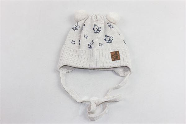 cappello in lana con lacci pon pon e microfantasia BARBARAS | Cappelli | WO24/MCBEIGE