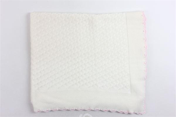 coperta in lana merino tinta unita profili in contrasto BEBE' DI ALMY | Coperte | E90BIANCO