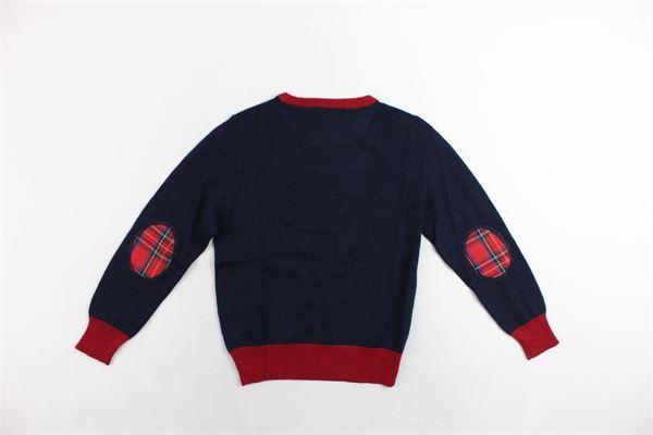 maglione girocollo tinta unita con stampa e profili in contrasto BERNA | Maglie | BRNF8034MABLU