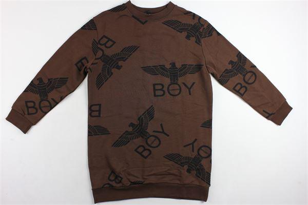 abito in felpa tinta unita con stampa modello over BOY LONDON | Abiti | BLD1543MARRONE