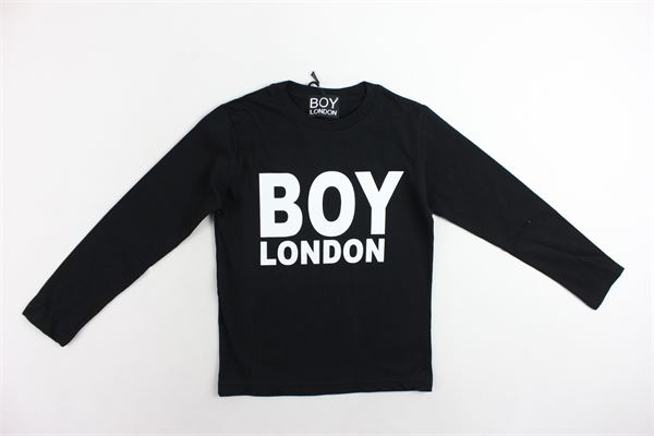 shirt manica lunga in cotone tinta unita con stampa BOY LONDON | Shirts | TSBL006NERO