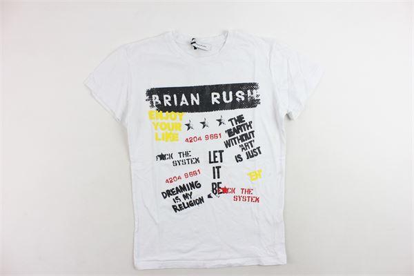 t-shirt mezza manica tinta unita con stampa BRIAN RUSH | T-shirts | T-SHIRTSBRIANRUSH1BIANCO