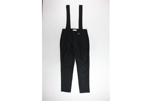 pantalone tinta unita con bretelle zip laterale BSB | Pantaloni | 042-244005NERO