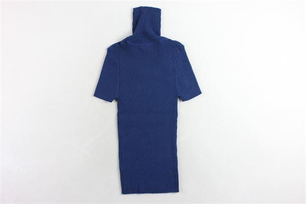 pullover mezza manica collo alto tinta unita a costine BSB | Maglie | 042-260001COBALTO