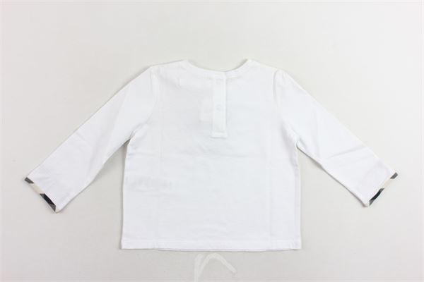 shirt manica lunga tinta unita con profili burberry ai polsi BURBERRY | Shirts | 39564621700BIANCO
