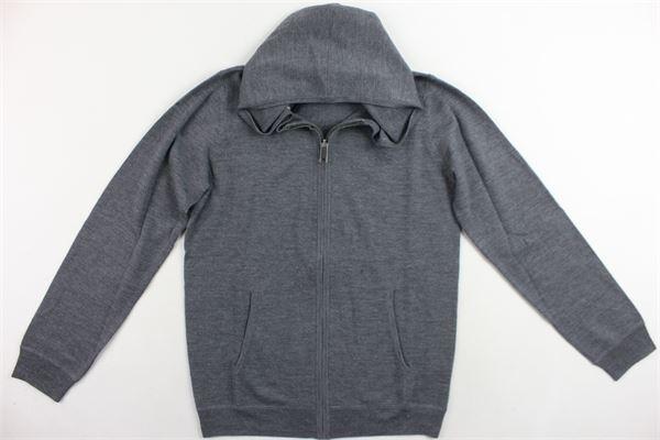 felpa zip e cappuccio in lana con toppe fantasia burberry BURBERRY | Felpe | 4018463GRIGIO
