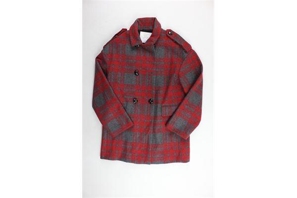 cappotto lungo fantasia a quadri BURBERRY | Giubbini | 80011441003ROSSO