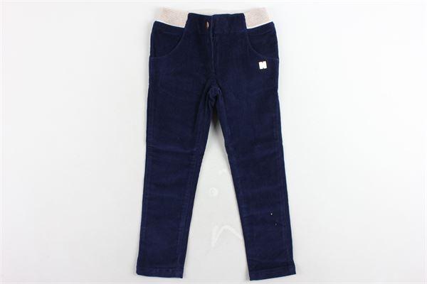 pantalone in velluto tinta unita girovita regolabile profili in contrasto CARRE'MENT BEAU | Pantaloni | Y14078/84NBLU