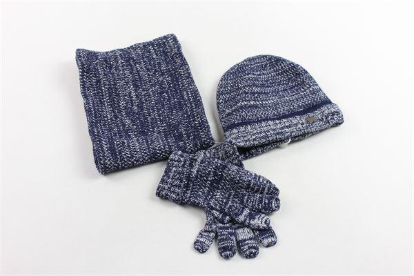 set 3 pezzi cappello più collo più guanti in lana CARRE'MENT BEAU | Completi | Y28029N78BLU