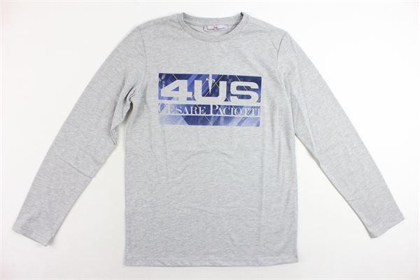 shirt in cotone tinta unita con stampa CESARE PACIOTTI | Shirts | TSP183910JGRIGIO
