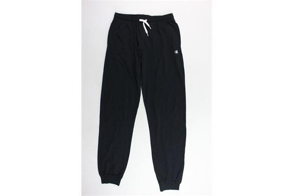 pantalone tuta in cotone tinta unita con logo CHAMPION | Pantaloni | 304938NERO