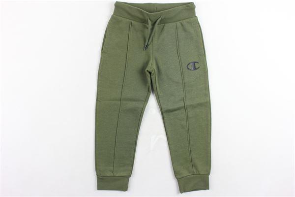 pantalone tuta felpato tinta unita con logo CHAMPION | Pantaloni | 305029VERDE