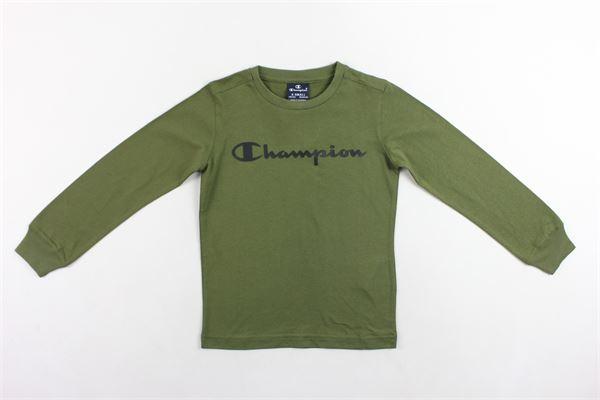 shirt manica lunga tinta unita con stampa CHAMPION   Shirts   305030VERDE