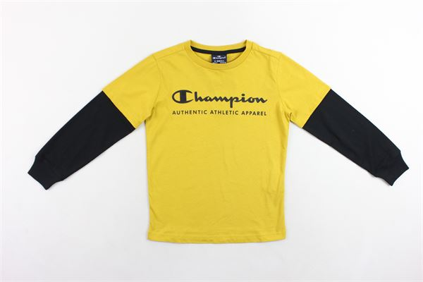shirt manica lunga tinta unita con stampa maniche in contrasto CHAMPION | Shirts | 305032GIALLO
