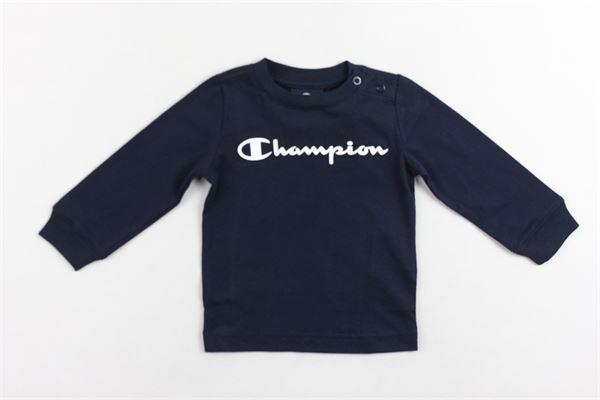 shirt manica lunga tinta unita con stampa CHAMPION | Shirts | 305104BLU