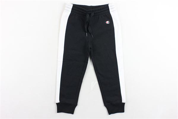 pantalone tuta felpato tinta unita profili in contrasto CHAMPION | Pantaloni | 403663NERO
