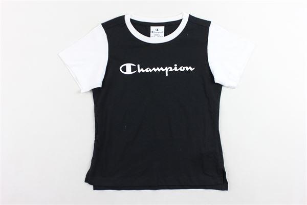 t-shirt mezza manica tinta unita con stampa e maniche in contrasto CHAMPION | T-shirts | 403665NERO