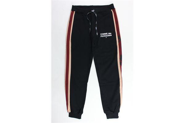 pantalone tuta felpato tinta unita con stampa profili colorati COMME DES FUCKDOWN | Pantaloni | PFCD9310JNERO