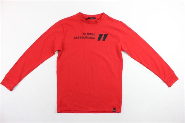shirt manica lunga tinta in cotone con stampa DANIELE ALESSANDRINI | Shirt | 1231M0788ROSSO