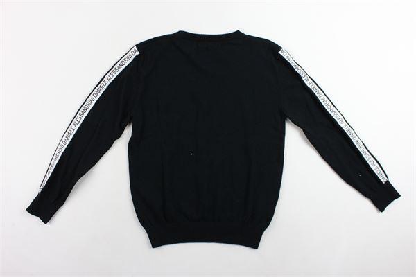 maglione girocollo tinta unita con stampa 100%cotone DANIELE ALESSANDRINI | Maglie | 1231W0619NERO