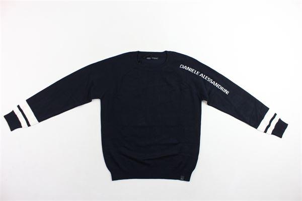 maglione girocollo tinta unita profili in contrasto DANIELE ALESSANDRINI | Maglie | 1231W0620BLU