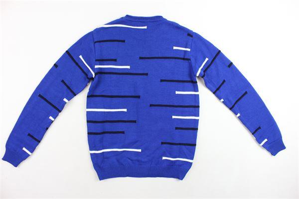 maglione in cotone e lana  girocollo tinta unita profili in contrasto DANIELE ALESSANDRINI | Maglie | 1231W0622COBALTO