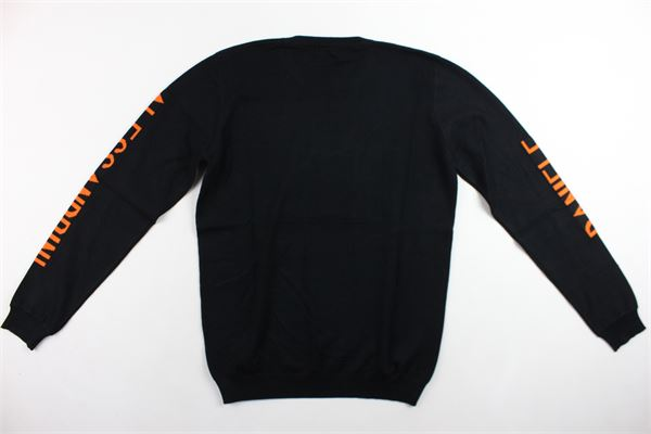 maglione girocollo tinta unita con stampa in contrasto 100%cotone DANIELE ALESSANDRINI | Maglie | 1231W0755NERO