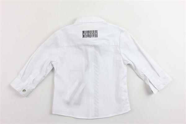 camicia in cotone manica lunga tinta unita con taschino e stampa DANIELE ALESSANDRINI | Camicie | 1291C0411BIANCO