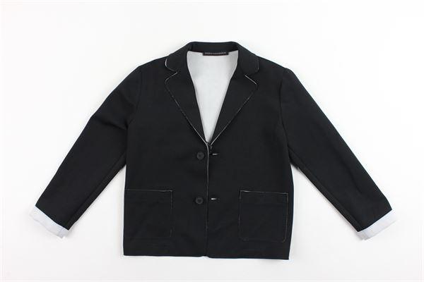 giacca tinta unita con stampa dietro DANIELE ALESSANDRINI | Giacche | 1291J0410NERO