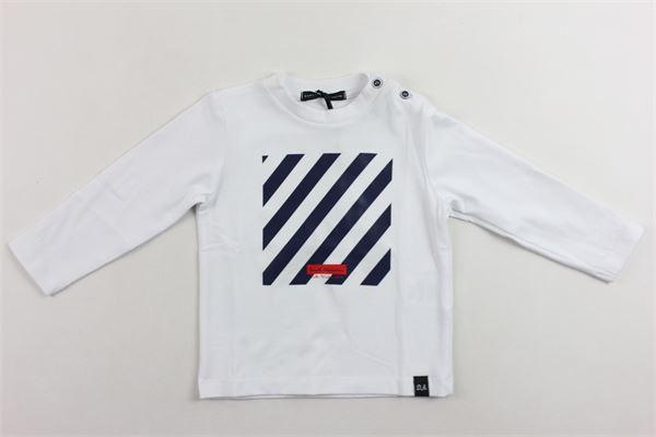 shirt manica lunga tinta unita con stampa in cotone. DANIELE ALESSANDRINI | Shirts | 1291M0399BIANCO