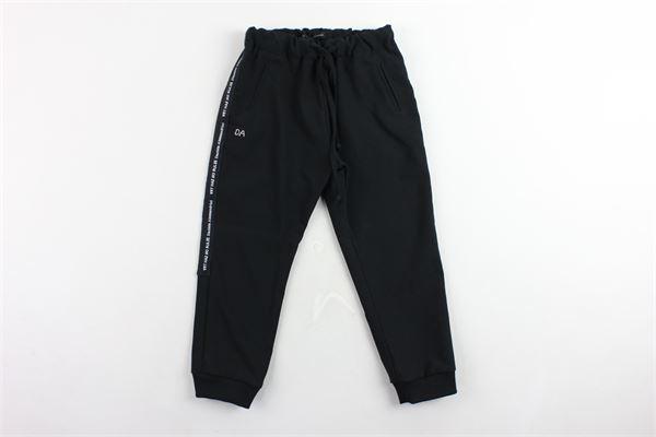 pantalone elastico in vita tinta unita con profili loggati DANIELE ALESSANDRINI | Pantaloni | 1291P0340NERO