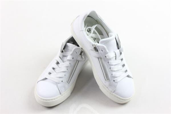 sneakers bassa con zip tinta unita in pelle D.A.T.E.   Scarpe   J301-NW2-CA-WHBIANCO