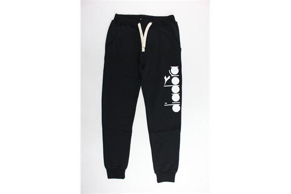 pantalone tuta felpato tinta unita con stampa DIADORA | Pantaloni | 021254NERO