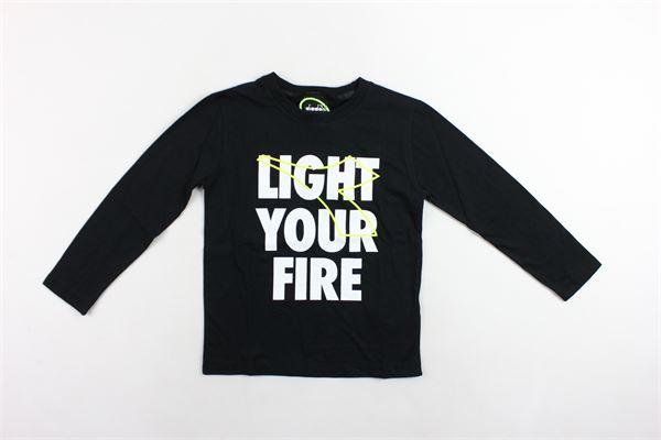 shirt manica lunga tinta unita con stampa DIADORA | Shirts | 021285NERO