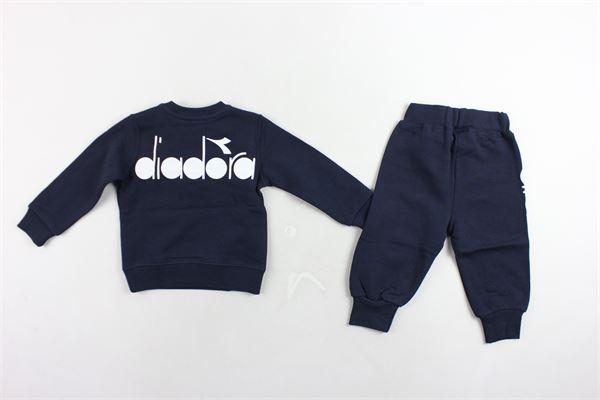 completo tuta felpa più pantalone in cotone felpato con stampa DIADORA | Completi | 021499BLU