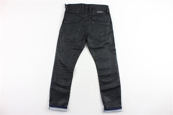 pantalone 5 tasche tinta unita in ecopelle DIESEL | Pantaloni | 00J3RVNERO