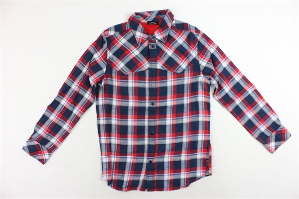 camicia manica lunga in cotone fantasia a quadri DIESEL | Camicie | 00J40Q-0SASEROSSO