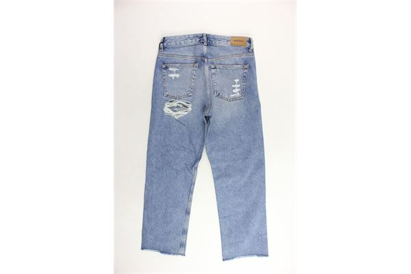 jeans tinta unita 5 tasche modello boyfriends con strappi DIESEL | Jeans | 00J46FKX76N/1BLU